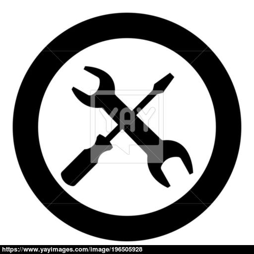Screwdriver And Wrench The Black Color Icon In Circle Or Round