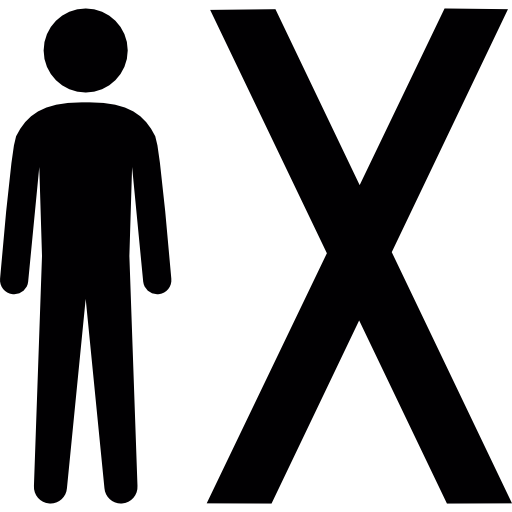 Man Standing Beside An X Symbol Icons Free Download