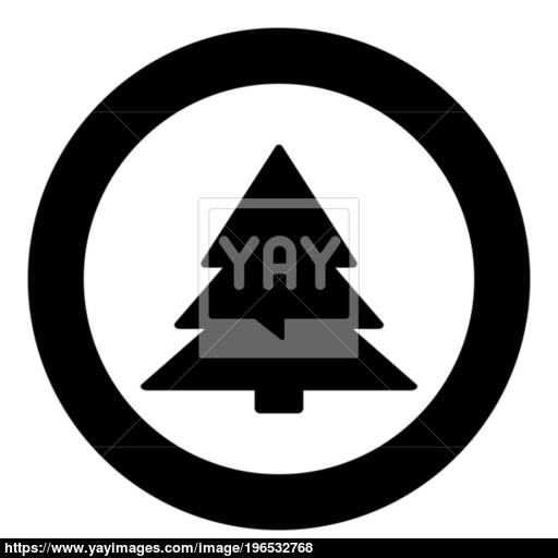 Christmas Tree Icon Black Color In Circle Or Round Vector