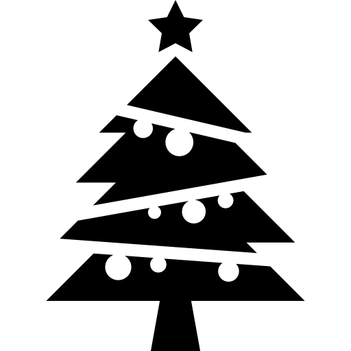 Christmas Tree With Balls And A Star On Top Icons Free Download