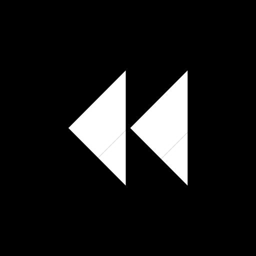 Flat Circle White On Black Classica Seek Back Arrow Icon