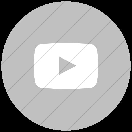 Flat Circle White On Silver Social Media Youtube Icon