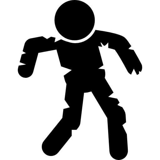 Standing Zombie Shape Icons Free Download
