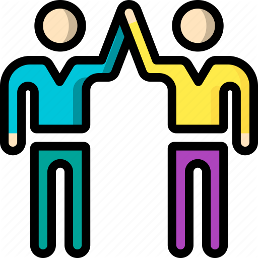 Five, High, Men, Standing, Stick Figure Icon