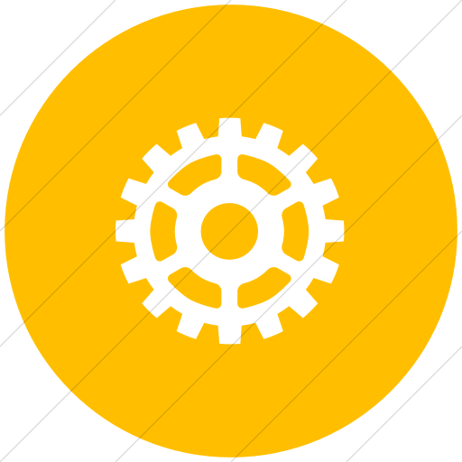 Flat Circle White On Yellow Classica Gear Icon