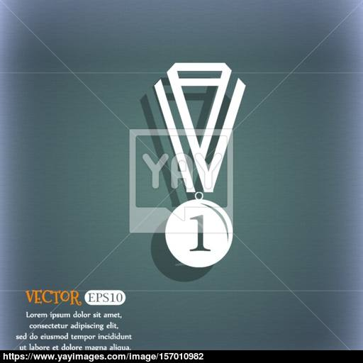 The Medal For First Place Icon On The Blue Green Abstract