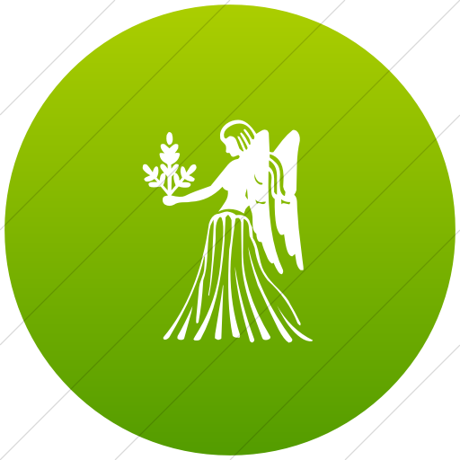 Flat Circle White On Green Gradient Zodiac Virgo Icon