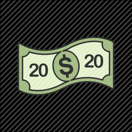 Bill, Cash, Dollar, Twenty Dollars Icon
