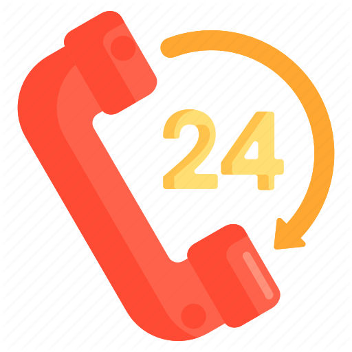Hours, Contact, Hotline, Round The Clock Icon