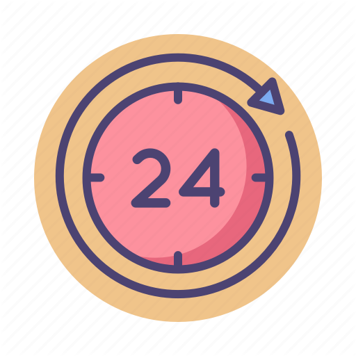 Hours, Round The Clock Icon