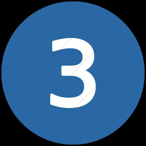 Flat Circle White On Blue Alphanumerics Number Icon