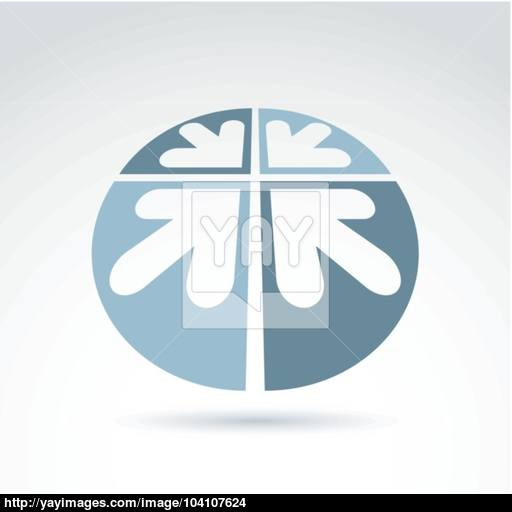 Vector Abstract Round Icon With Four Arrow, Abstract Symbol