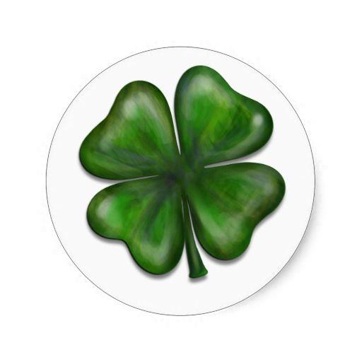 Leaf Clover Classic Round Sticker St Patricks Day