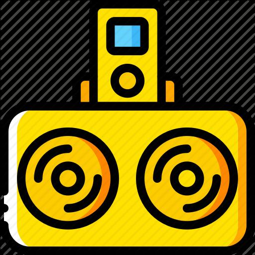 Devices, Dock, Ipod, Speakers, Yellow Icon