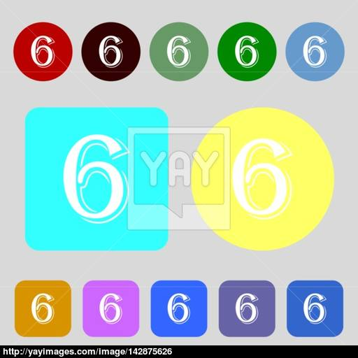 Number Six Icon Sign Colored Buttons Flat Design Vector