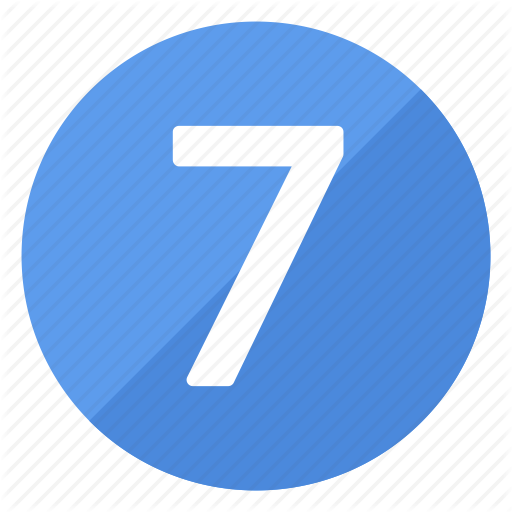 Blue, Circle, Circular, Number, Round, Seven Icon