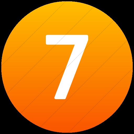 Flat Circle White On Orange Gradient Alphanumerics