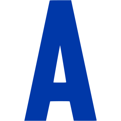 Royal Azure Blue Letter A Icon