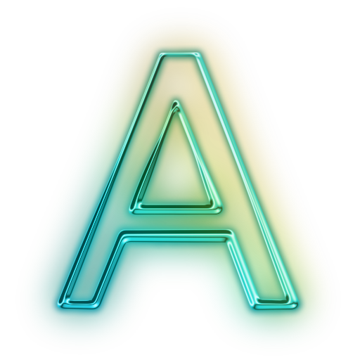 Glowing Green Neon Icon Alphanumeric Letter Aa Chakra Central
