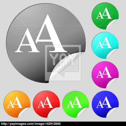 Enlarge Font, Aa Icon Sign Set Of Eight Multi Colored Round