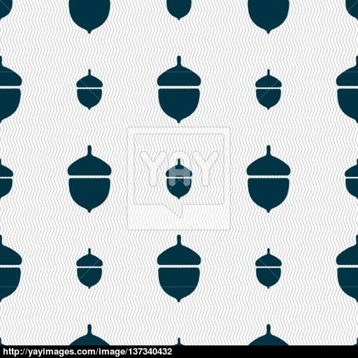 Acorn Icon Sign Seamless Pattern With Geometric Texture Vector