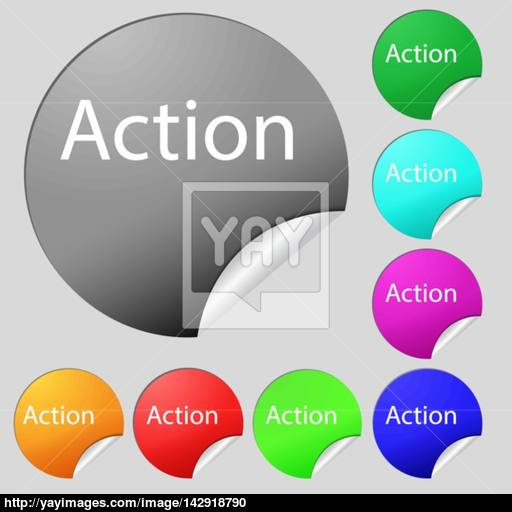 Action Sign Icon Motivation Button With Arrow Set Of Eight Multi