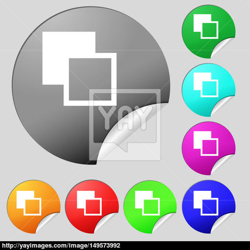 Active Color Toolbar Icon Sign Set Of Eight Multi Colored Round