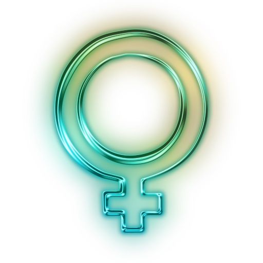 Glowing Green Neon Icon Symbols Shapes Female Symbol
