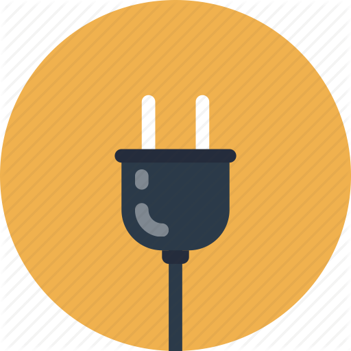 Power Cord Electric Socket Plug Connection Flat Icon Symbol