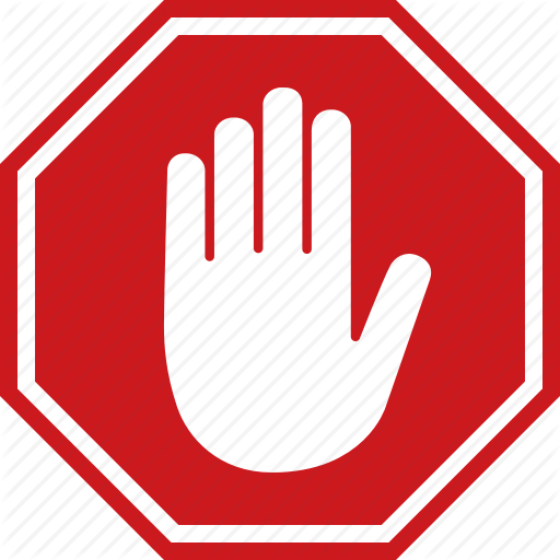 Adblock Block Halt Hand Red Sign Stop Icon Stop Sign Learn