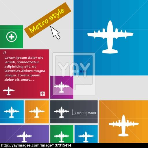 Aircraft Icon Sign Buttons Modern Interface Website Buttons