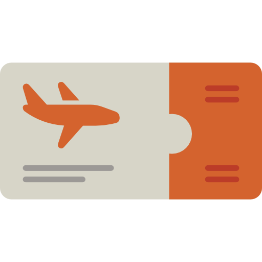 Vacations, Flight, Airplane Ticket Icon