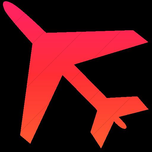 Simple Ios Orange Gradient Classica Airplane Icon