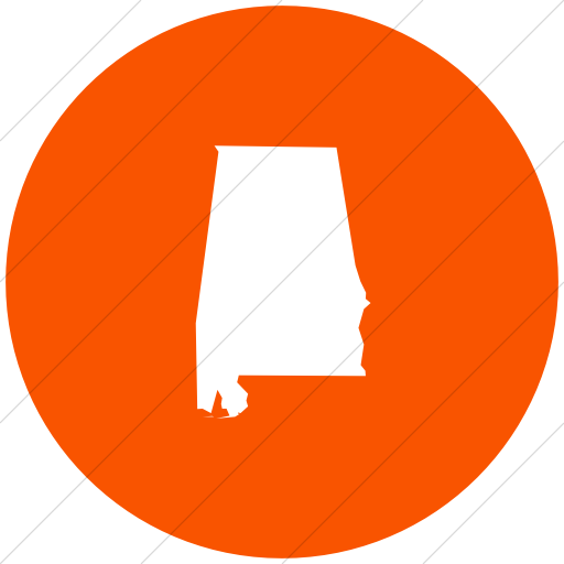 Flat Circle White On Orange Us States Alabama Icon