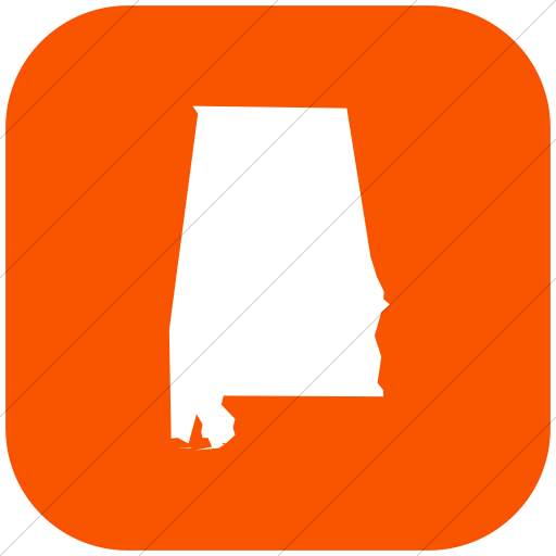 Flat Rounded Square White On Orange Us States Alabama Icon