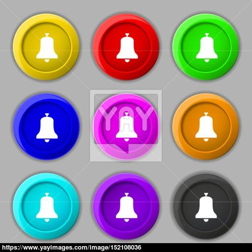 Alarm Bell Icon Sign Symbol On Nine Round Colourful Buttons