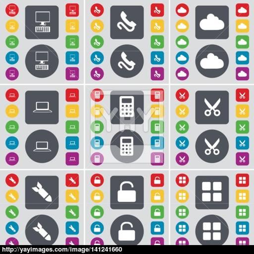 Pc, Receiver, Cloud, Laptop, Calculator, Scissors, Rocket, Lock