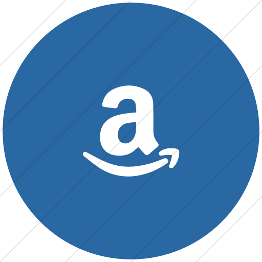 Flat Circle White On Blue Foundation Social Amazon Icon