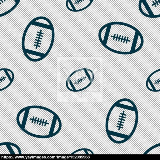 American Football Icon Sign Seamless Pattern With Geometric
