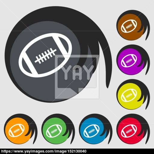 American Football Icon Symbols On Eight Colored Buttons Vector
