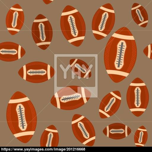 American Football Ball Seamless Pattern Isolated On Brown
