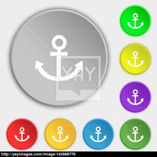 Anchor Icon Symbols On Eight Flat Buttons Vector Vector