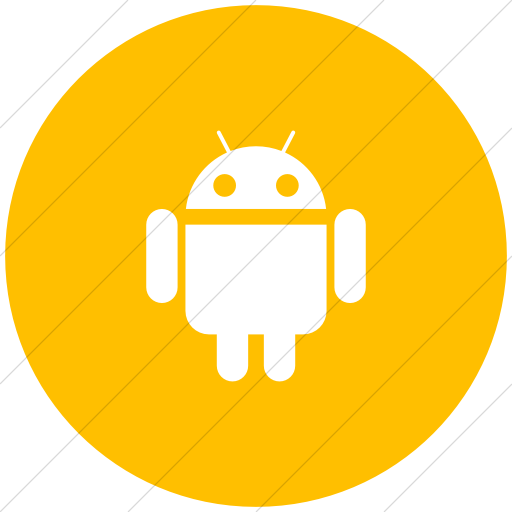 Flat Circle White On Yellow Social Media Android Icon