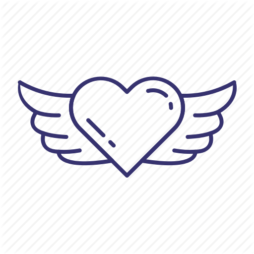 Angel, Heart, Love, Valentine, Wings Icon