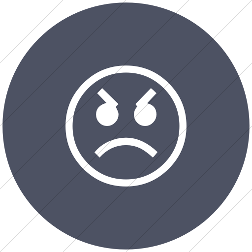 Flat Circle White On Blue Gray Classic Emoticons Angry
