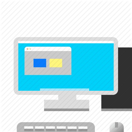 Computer, Desktop, Full, Keyboard, Monitor Icon