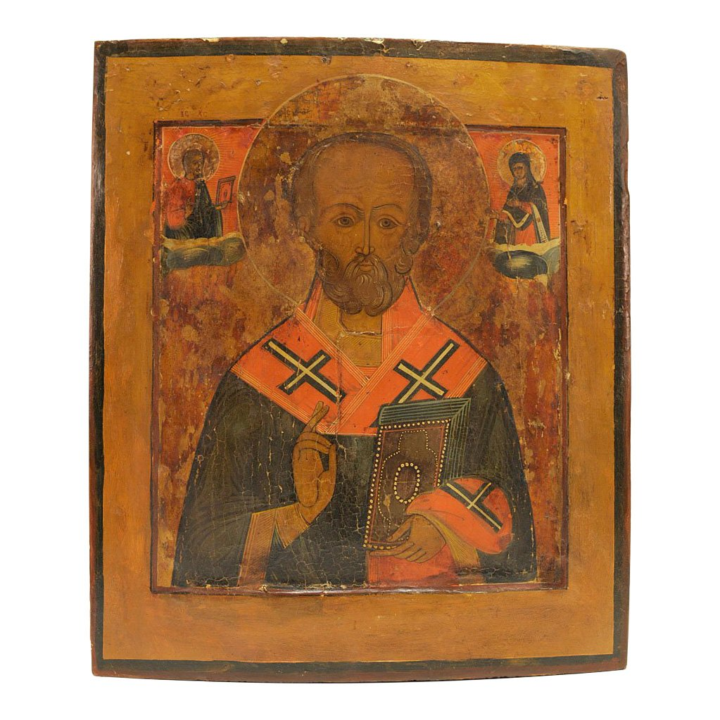 Russian Icon Saint Nicholas Of Myra With Gospels