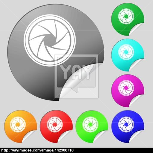 Diaphragm Icon Aperture Sign Set Of Eight Multi Colored Round