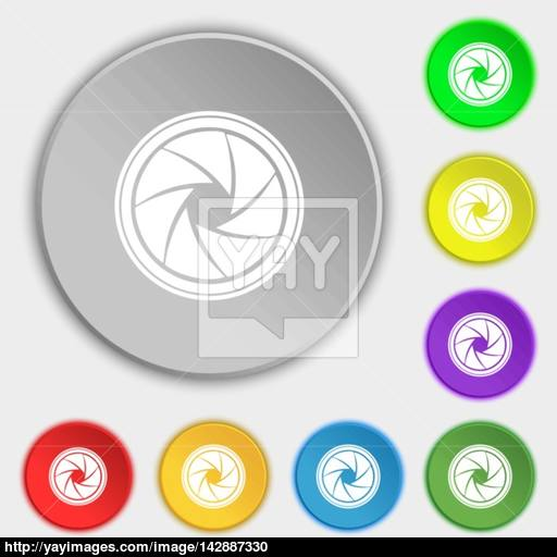 Diaphragm Icon Aperture Sign Symbols On Eight Flat Buttons