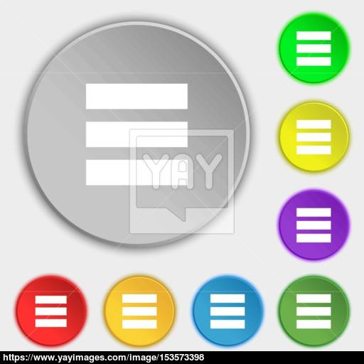 List Menu, App Icon Sign Symbol On Eight Flat Buttons Vector